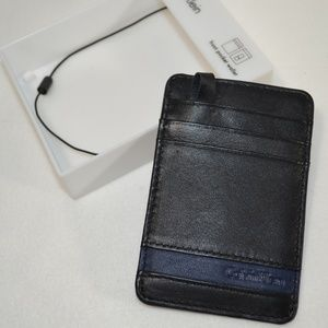 CALVIN KLEIN Black Blu Leather Front Pocket Wallet